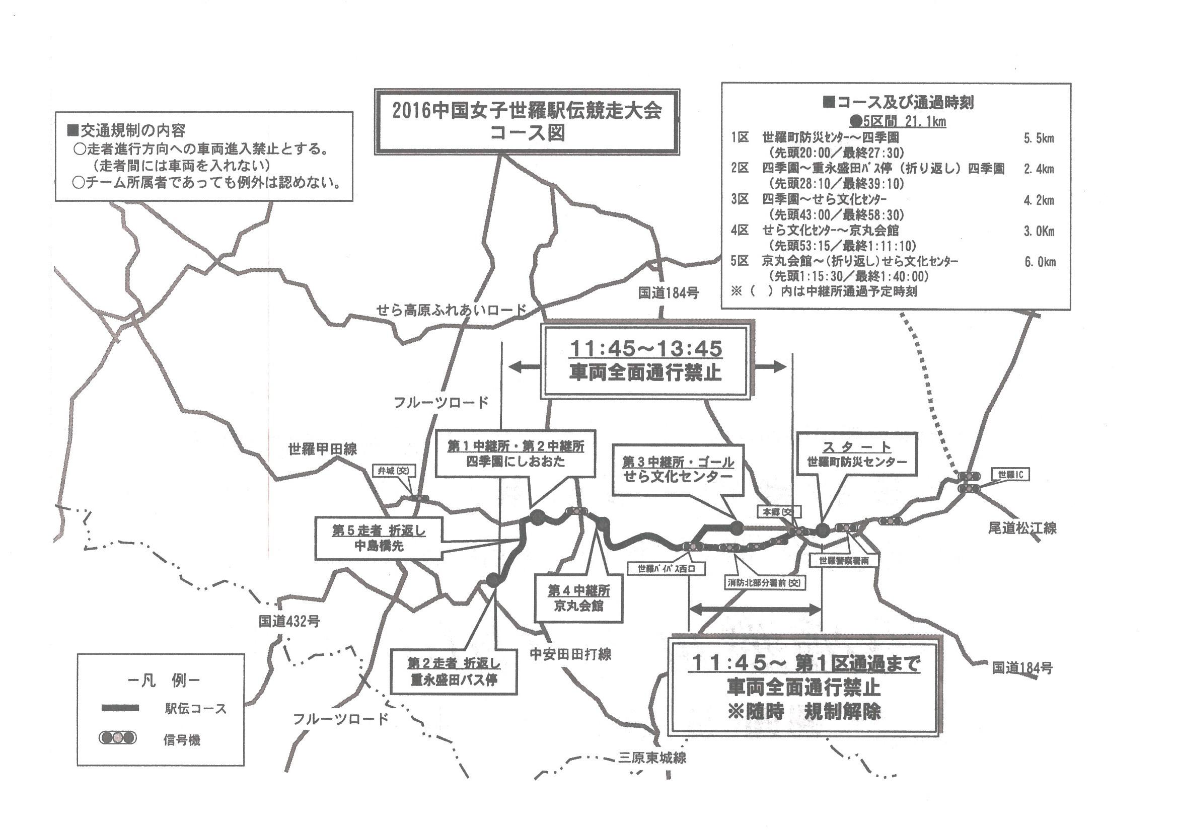 2016中国女子世羅駅伝競走大会コース図